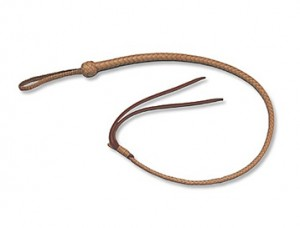 Mushers beat their dogs with quirt whips. The whip has two tails at the end, and a core that's normally filled with lead shot. Mushers roll up their whips and hide them in their pockets.