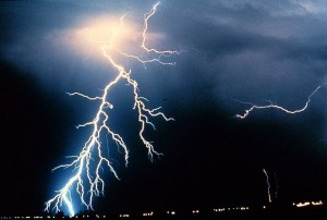 Lightning can electrocute tethered Iditarod dogs. Photo attributed to NOAA Photo Library on Wikimedia.